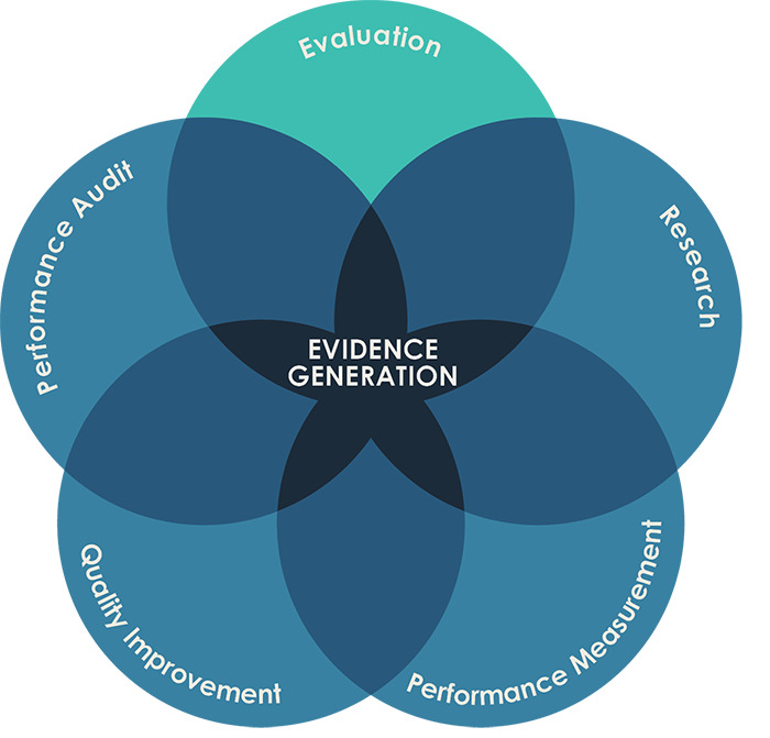 Figure 1 shows overlapping circles of evidence generation. These are: Evaluation, Research, Performance Measurement, Quality Improvement and Performance Audit. Evaluation overlaps with all the other forms of evidence. The source for this diagram is Lovato and Hutchinson, 2017.