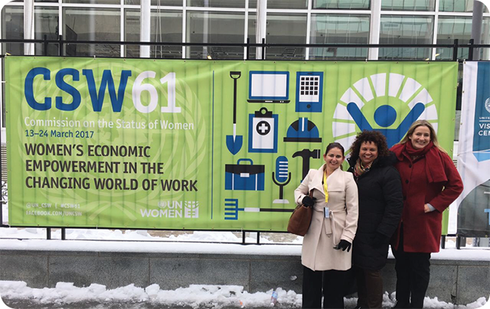 Ms Jahna Cedar, Ms Leann Wilson and Ms Elizabeth Shaw outside the United Nations building New York during CSW61