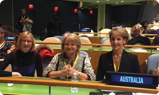 Ambassador and Permanent Representative of Australia to the United Nations, Gillian Bird PSM, Ambassador for Women and Girls, Dr Sharman Stone, and Minister for Women, Senator the Hon. Michaelia Cash