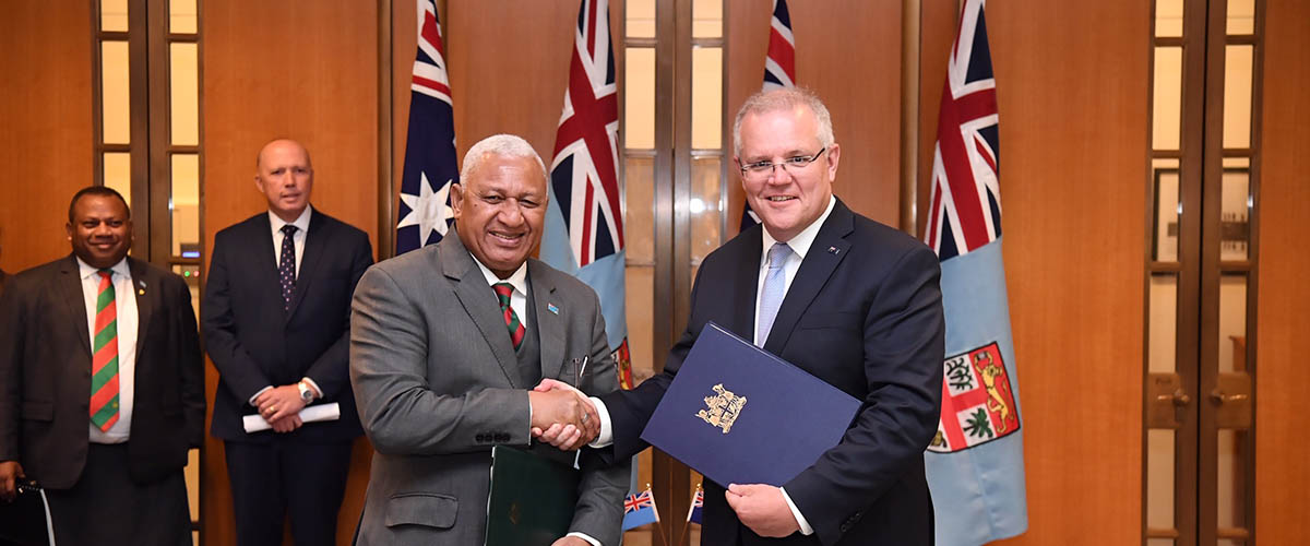 Prime Minister of Fiji, the Hon Rear Admiral (Retired) Josaia Voreqe Bainimarama, and Prime Minister of Australia, the Hon Scott Morrison MP shake hands
