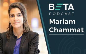 Image of Mariam Chammat. She is smiling. The text reads: BETA podcast, Mariam Chammat.