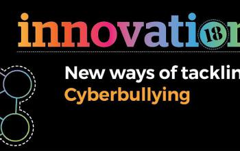 Black banner with the words: Innovation New ways of tackling Cyberbullying