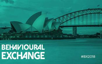 Green Behavioural Exchange conference branding. In the background is a greyscale picture of the Sydney Opera House and a stormy sky.