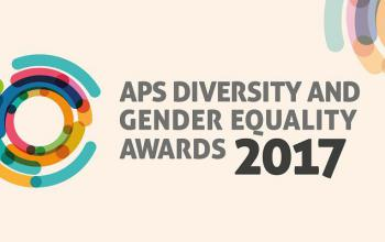 Banner with multiple colours featuring two images of colourful circles and part circles and the following words: APS Diversity and Gender Equality 2017