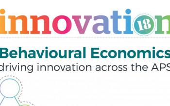 White background with coloured words reading: Behavioural Economics Driving Innovation Across the APS – Innovation Month 2018