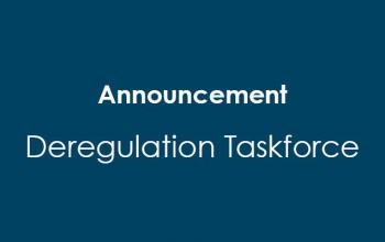 On a blue background, the words announcement deregulation taskforce appear.