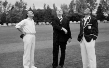 PM's XI captain Jack Fingleton, Prime Minister Menzies and the West Indian captain, John D. Goddard