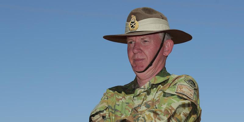 National Drought Coordinator Major-General Stephen Day is seen during a regional tour of sheep and cattle graziers Annabel and Stephen Tully's property by Prime Minister Scott Morrison in Quilpie in south west Queensland, Monday, August 27, 2018