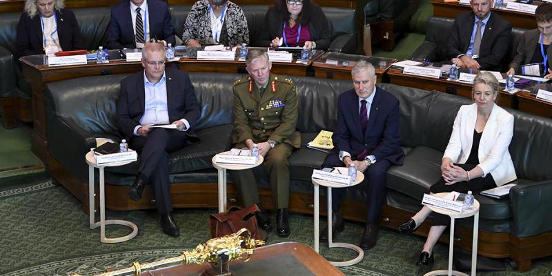Australian Prime Minister Scott Morrison, Coordinator-General for Drought Major General Stephen Day, Australian Deputy Prime Minister Michael McCormack, and Deputy Leader of the Nationals Bridget McKenzie attend the National Drought Summit at Old Parliament House in Canberra, Friday, October 26, 2018. (AAP Image/Lukas Coch)