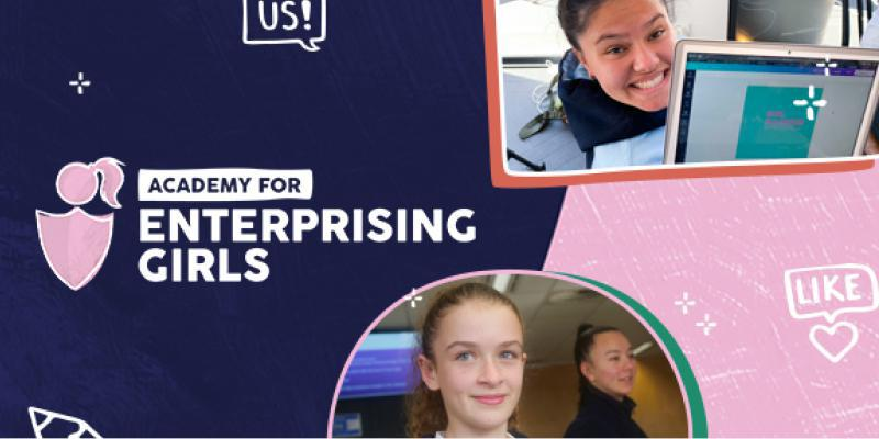 Image is an official banner from Academy of Enterprising Girls with their logo and 3 images of school-age girls