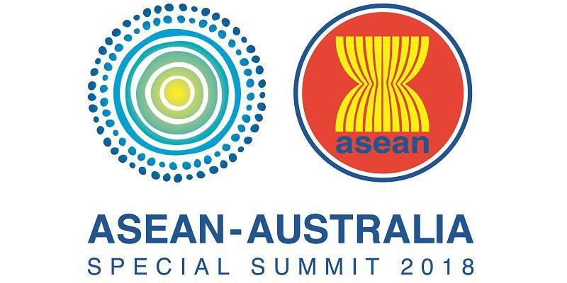At top left are concentric circles beginning on the outside with dots and lines inside leading to a yellow centre. At top right is a yellow hourglass like figure on red background with the word 'asean' underneath. Underneath are the words ASEAN-AUSTRALIA