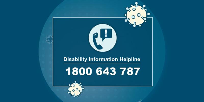 Blue rectangle on a blue background with an image of a virus and a phone and the words: Disability Information Hotline 1800 643 787