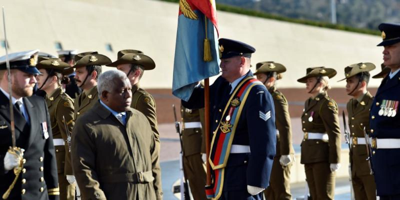 The Prime Minister of Solomon Islands observes Australia's Federation Guard in the Courtyard of Parliament House
