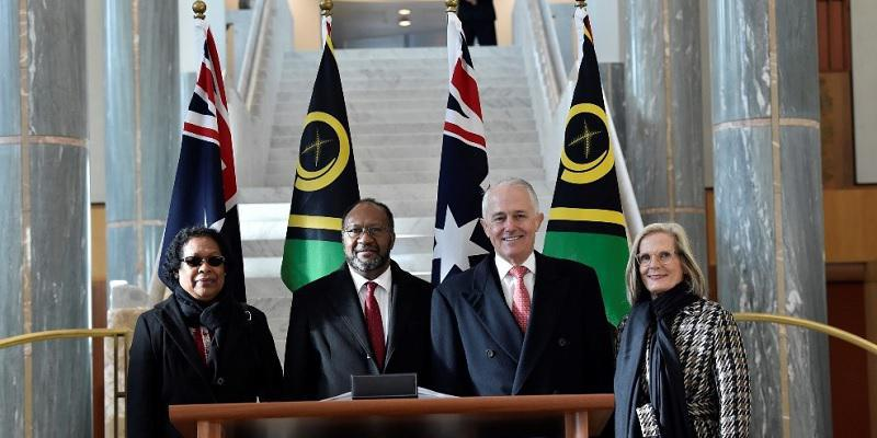 The Prime Ministers of Australia and Vanuatu with their spouses at Parliament House.