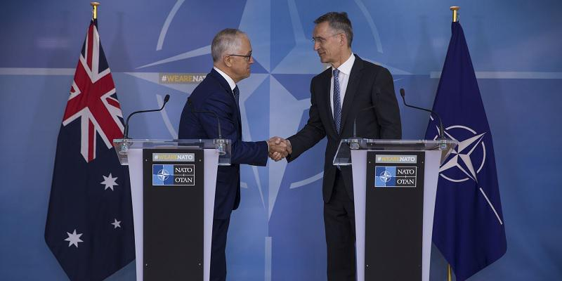 Prime Minister Turnbull shaking hands with the Secretary General of NATO, Jens Stoltenberg.