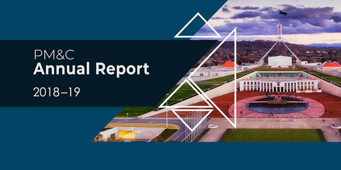 Image of PM&C 2018-19 Annual Report cover, showing blue background with image looking south over Parliament House