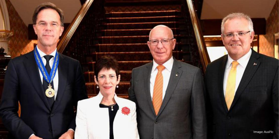 Prime Minister of the Netherlands, Mr Mark Rutte stands in front of stairs with Her Excellency Mrs Linda Hurley, His Excellency General the Honourable David Hurley AC DSC (Retd) and The Honourable Scott Morrison MP.