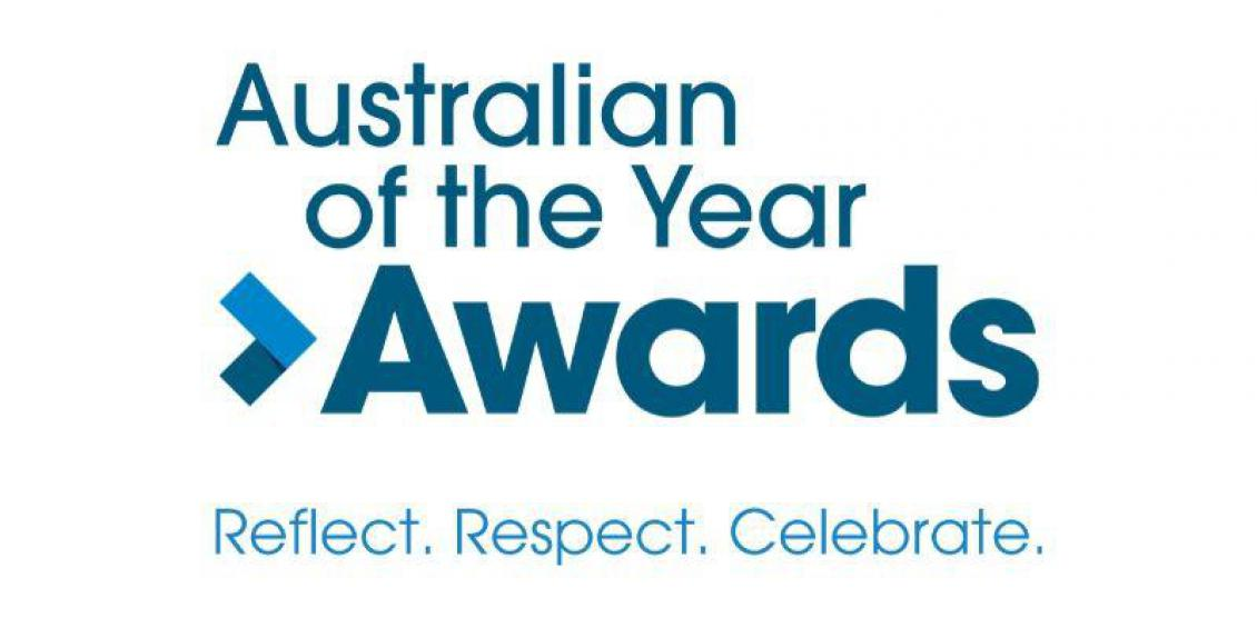 The words Australian of the Year Awards appears in blue text. The word awards is in bold and has a small right facing arrow pointing towards the words. In the bottom section of the image, the words reflect, respect and celebrate appear.