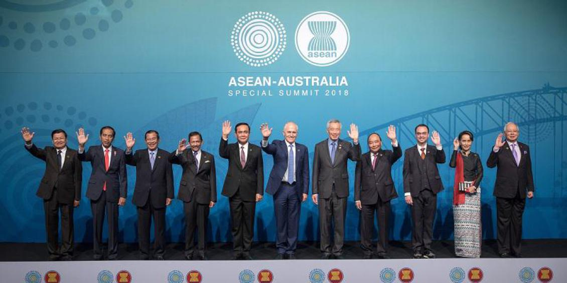 11 leaders from South East Asia on stage at conclusion of ASEAN-Australia Summit.