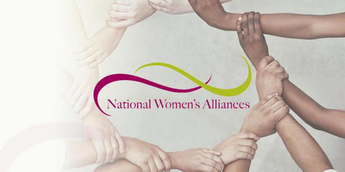 Series of hands clasping one another in a circle on a white background with the words: National Women's Alliance