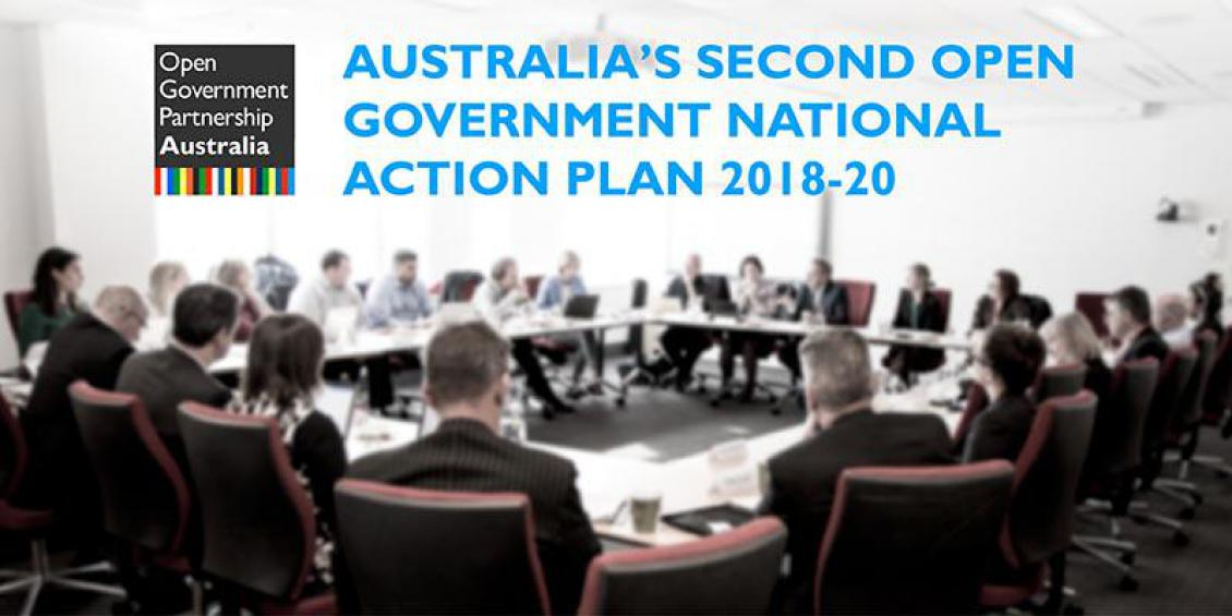 Blurred image of group of people sitting around a meeting table. The Open Government Partnership Australia logo appears in the top left hand corner.