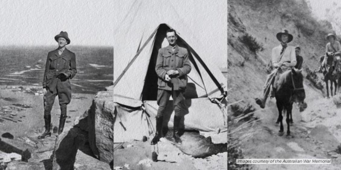 There are 3 separate black and white photographs of the Charles Bean. The images are vertical portraits: 1. Charles is standing on a pyramid, 2. standing in front of a tent, 3. riding a pony.